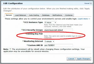 Configuration dialog in Elastic Beanstalk web console