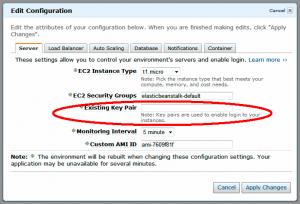 Configuration dialog in Elastic Beanstalk web console