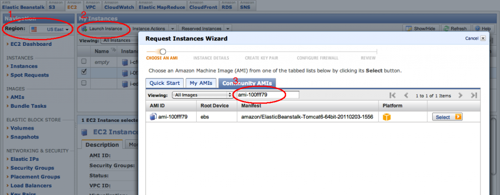 Start instance from EC2 console